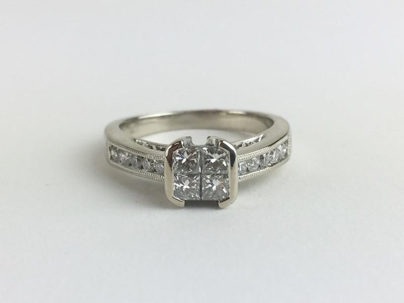 Multi Diamond Ring w 14 Diamonds .66 Carat T.W. 14K White Gold 4.6g
