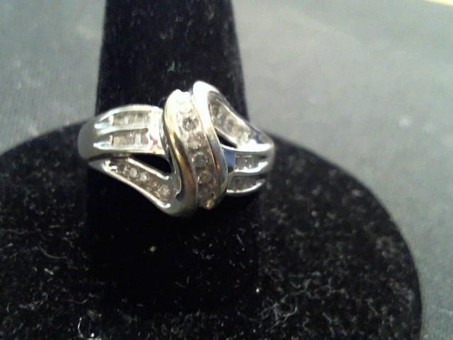 Lady's Diamond Fashion Ring 29 Diamonds .58 Carat T.W. 10K White Gold 3.2g