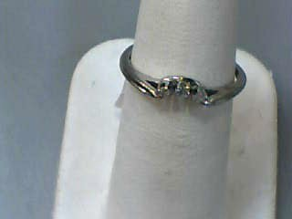 Lady's Gold-Diamond Ring Guard 3 Diamonds .03 Carat T.W. 14K White Gold 0.9dwt