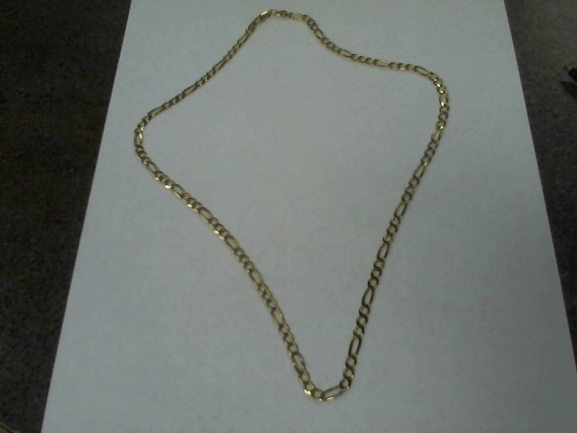 "22"" Gold Figaro Chain 14K Yellow Gold 15.7g"