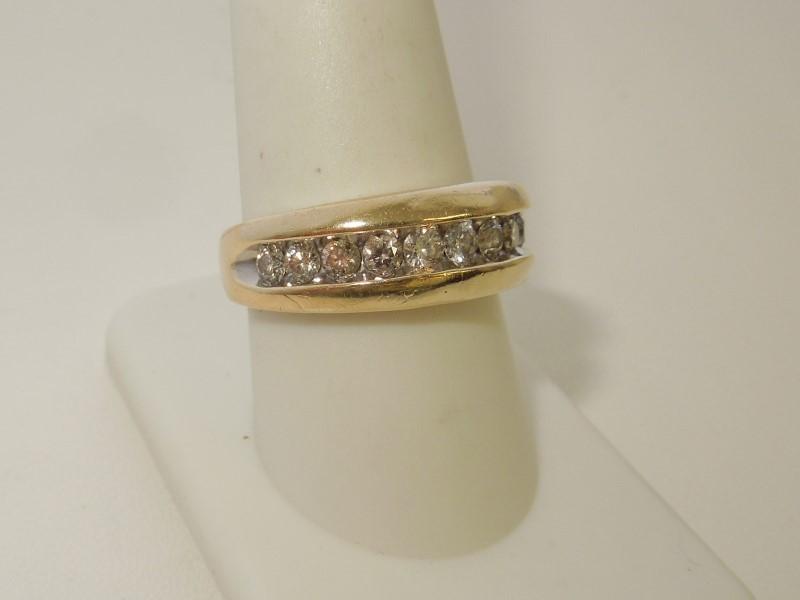Gent's Diamond Fashion Ring 11 Diamonds .77 Carat T.W. 10K Yellow Gold 4.9g