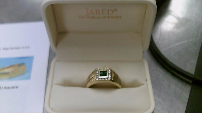 Emerald Gent's Stone & Diamond Ring 16 Diamonds .80 Carat T.W. 18K Yellow Gold