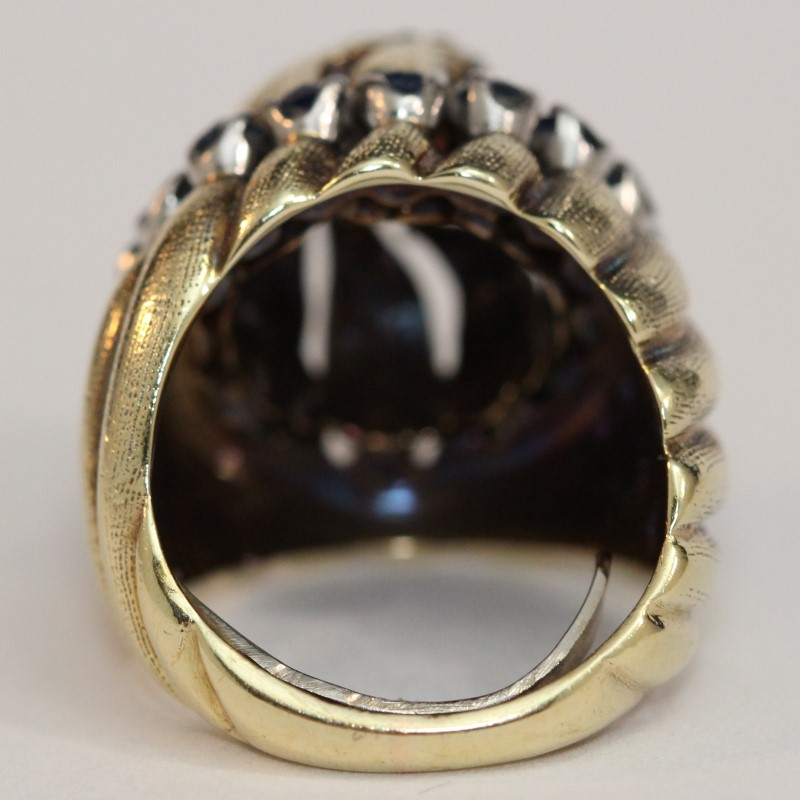 14K Yellow Gold Sapphire and Diamond Ring Size 4