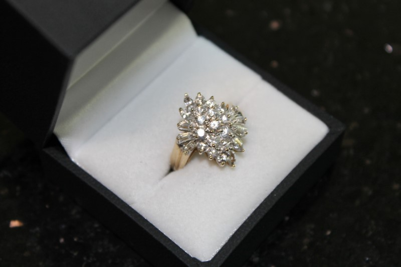 Marquise and Bagguette Cluster Cubic Zirconia 14K Yellow Gold Ring