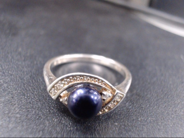Synthetic Lapis Lady's Silver & Stone Ring 925 Silver 2.8g