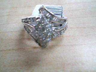 Lady's Diamond Cluster Ring 16 Diamonds .80 Carat T.W. 10K White Gold 3.8g