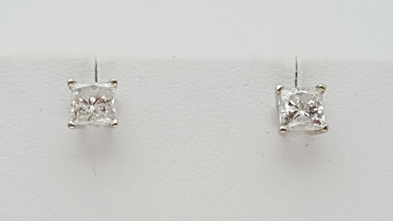 Gold-Diamond Earrings 2 Diamonds 1.04 Carat T.W. 14K White Gold 1.2g