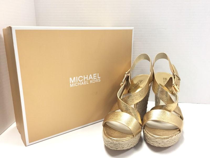 MICHAEL KORS GIOVANNA GOLD METALLIC ESPADRILLE WEDGES