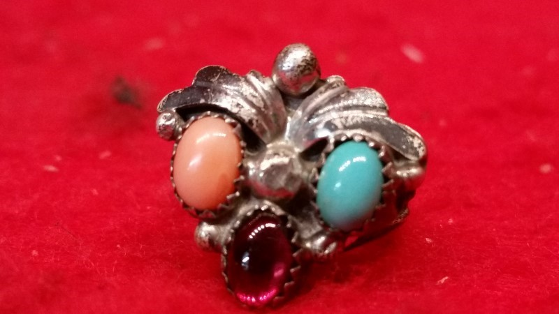 Native American Indian Lady's Silver Ring 925 Silver 5.6g Size:5