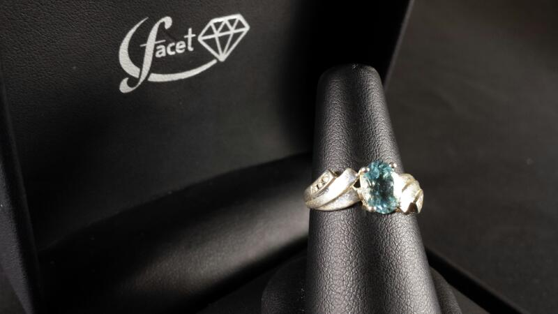 Oval Aquamarine Lady's Silver & Stone Ring 925 Silver