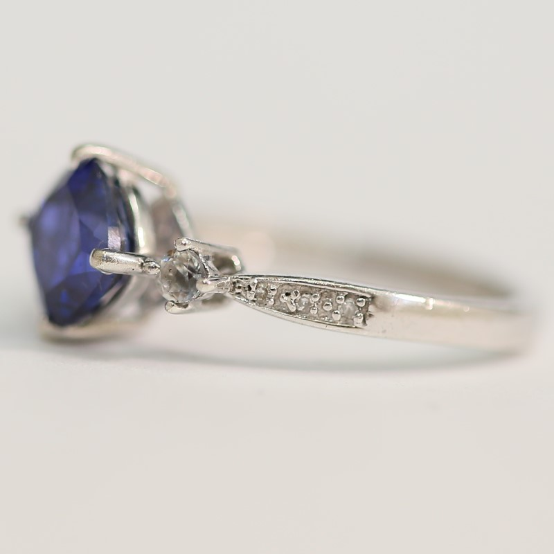 Cushion Cut Iolite and Cubic Zirconia Sterling Silver Ring Size 7