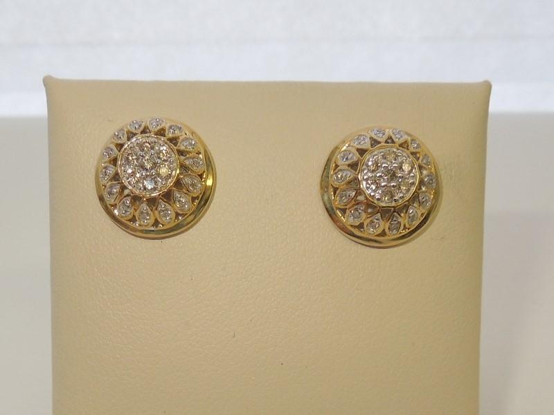 Gold-Diamond Earrings 40 Diamonds .40 Carat T.W. 10K Yellow Gold 4.5g