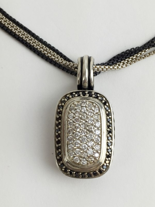 David Yurman White & Black Pendant w 80 Diamonds 1.60 Carat T.W.  Sterling B&W