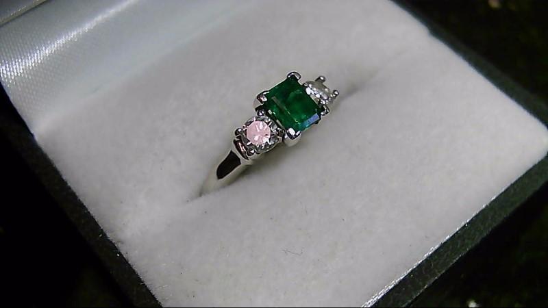 Genuine Emerald with Brilliant Round Cut Diamond White Gold Ring
