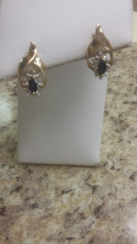 Blue Stone Gold-Stone Earrings 10K Yellow Gold 1.2dwt
