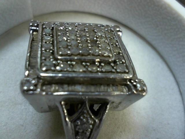 Lady's Silver-Diamond Ring 50 Diamonds .50 Carat T.W. 999 Silver 7.5g