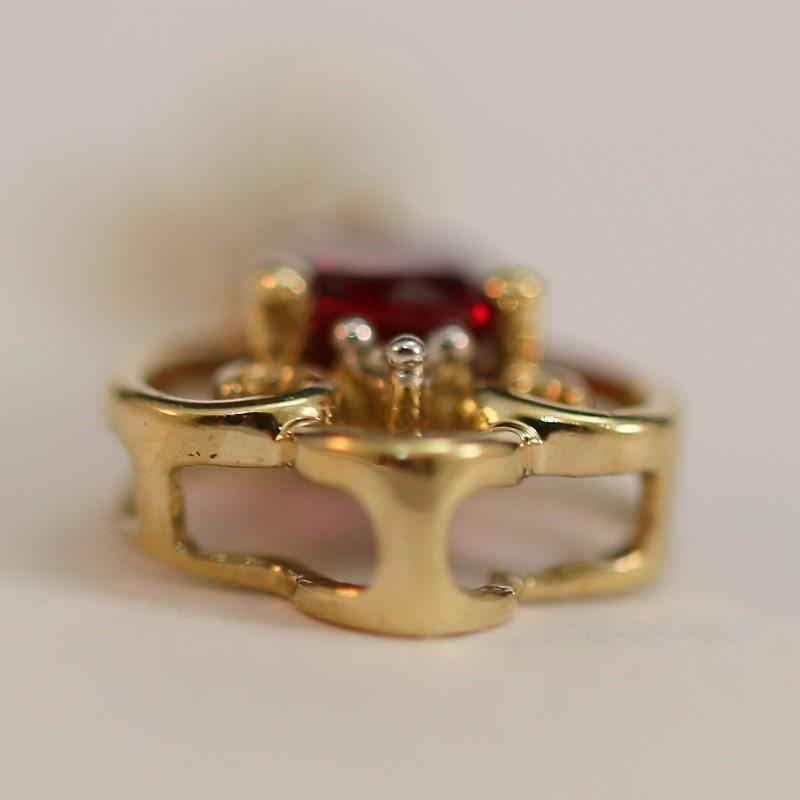 10K Yellow Gold Almandite Garnet and Diamond Key Pendant