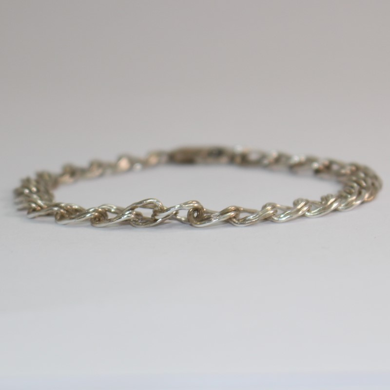 "7"" Sterling Silver Diamond Cut Double Link Charm Bracelet"
