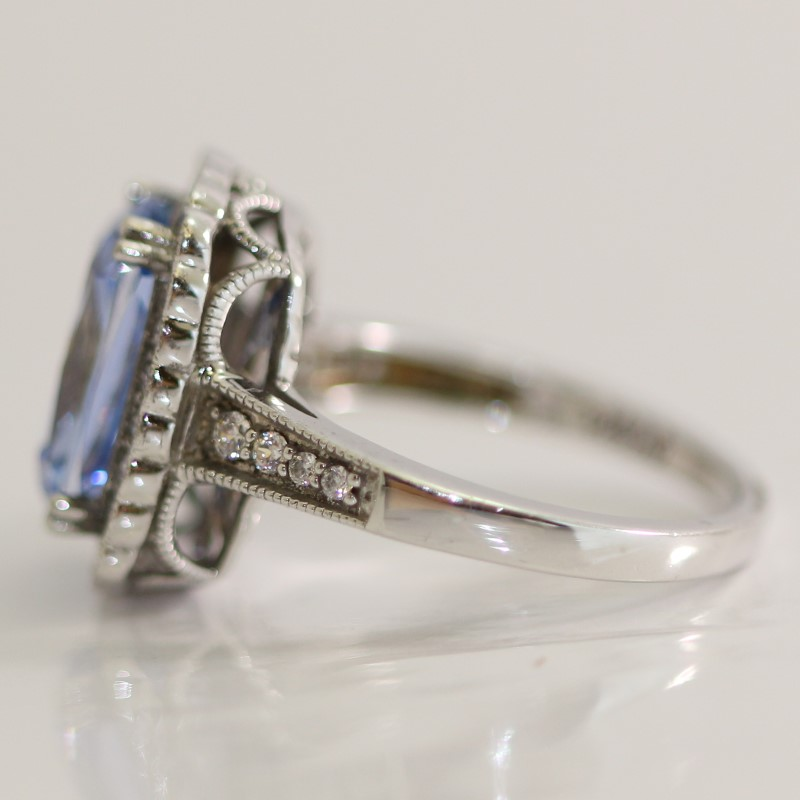 Sterling Silver Radiant Blue Stone & Round White Stone Ring Size 7