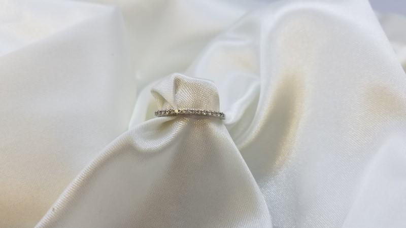Lady's Diamond Pave Anniversary Ring 15 Diamonds .15 Carat T.W. 18K White Gold