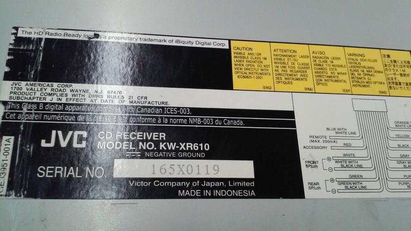 JVC Car Audio KW-XR610