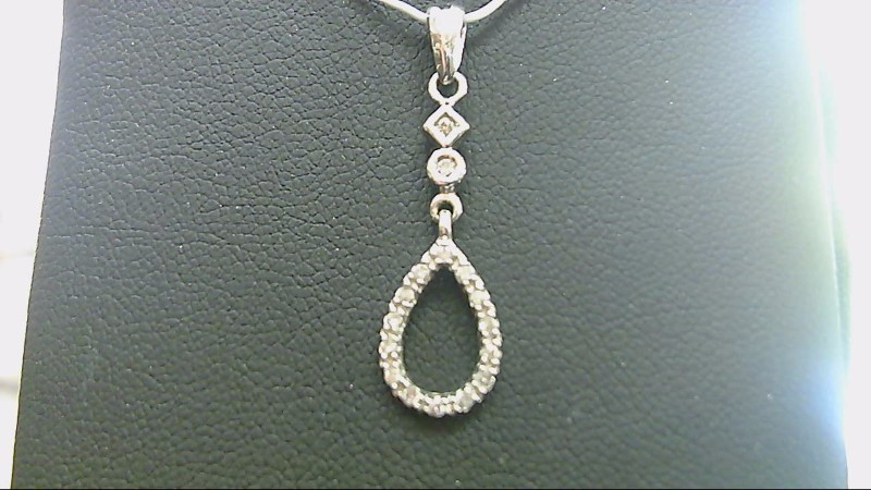 ESTATE WG PEAR SHAPE RD DIAMOND DANGLE PENDANT