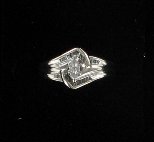 Lady's Diamond Fashion Ring 17 Diamonds .41 Carat T.W. 10K White Gold 2.4dwt