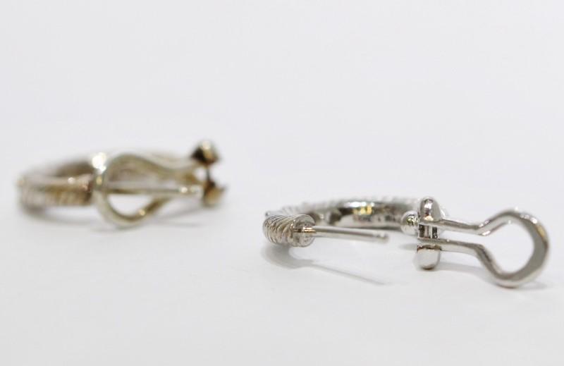 Judith Ripka 3-Stone Diamonique CZ Twist Leverback Hoop Earrings