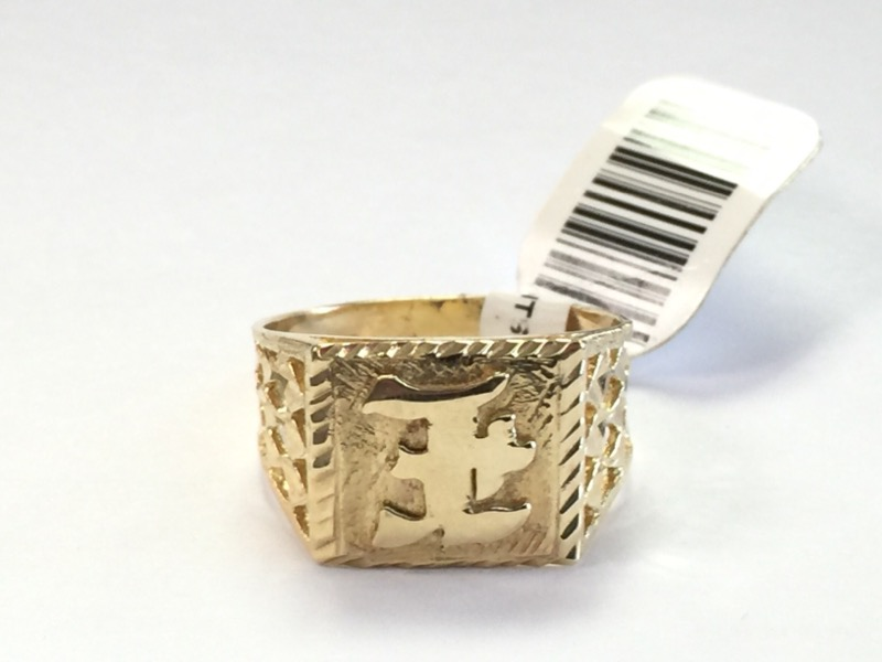 "GENTS 14KT Gent's Gold Ring ""E"" 14K Yellow Gold 2.7dwt Size:8.5"