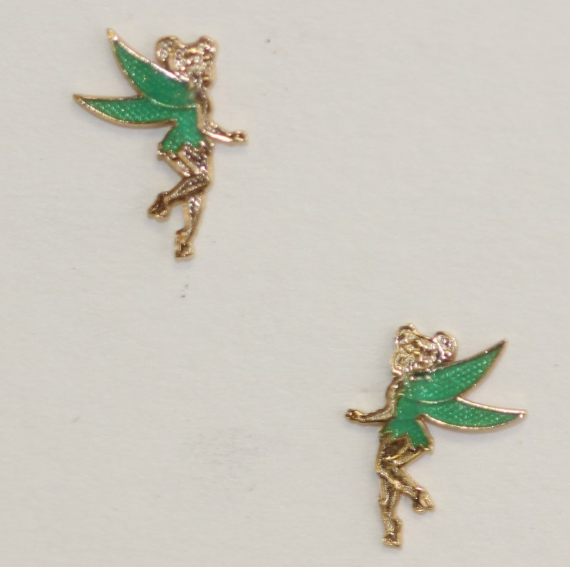 Disney 14K Yellow Gold Tinker Bell Earrings