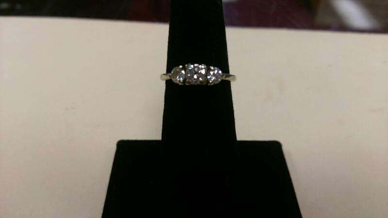 LADIES ANNIVERSARY RING 3 DIAMOND 0.71 CARAT T.W. 14K WHITE GOLD WITH APPRAISAL