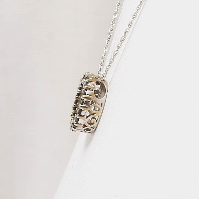 "18"" 14K White Gold Round Black Diamond Knecklace w/ Filigree Detail"