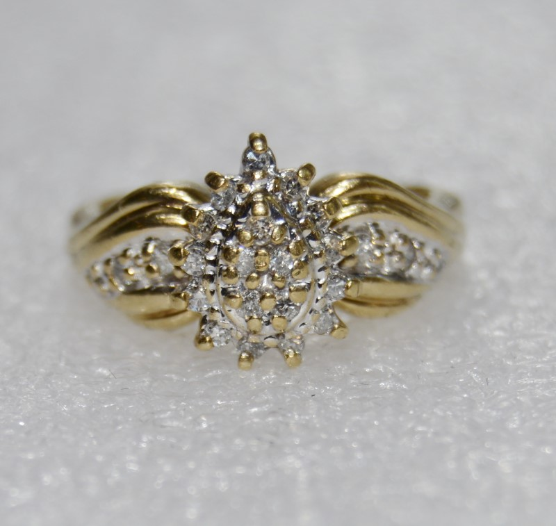 10K Yellow Gold Bow Inspired Pave Set Diamond Pear Shaped Cluster Ring Size 6