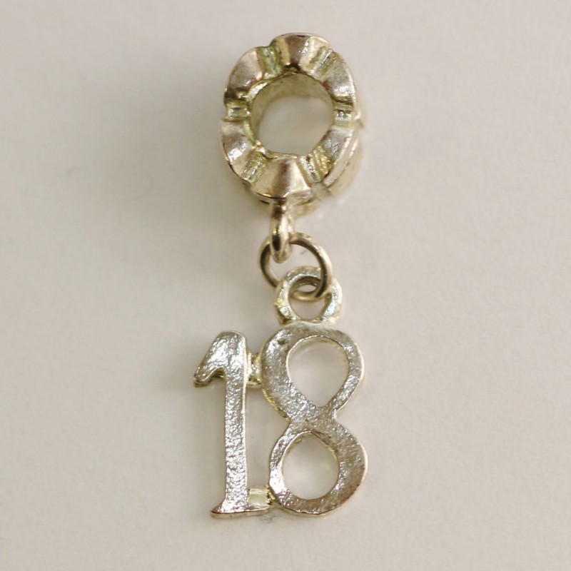 SILVER 18 YEAR DANGLE CHARM WORKS WITH PANDORA