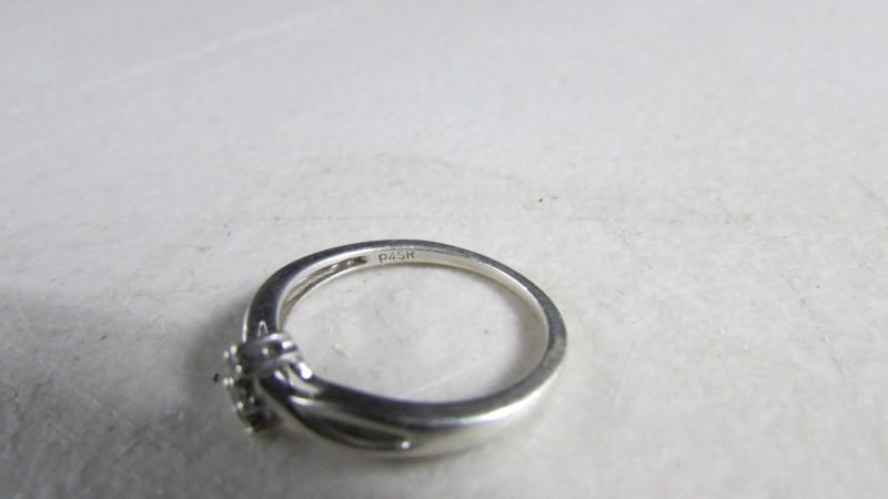 Lady's Silver-Diamond Ring 3 Diamonds .09 Carat T.W. 925 Silver 1.61g
