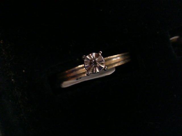 Lady's Diamond Engagement Ring .01 CT. 10K White Gold 1.2g