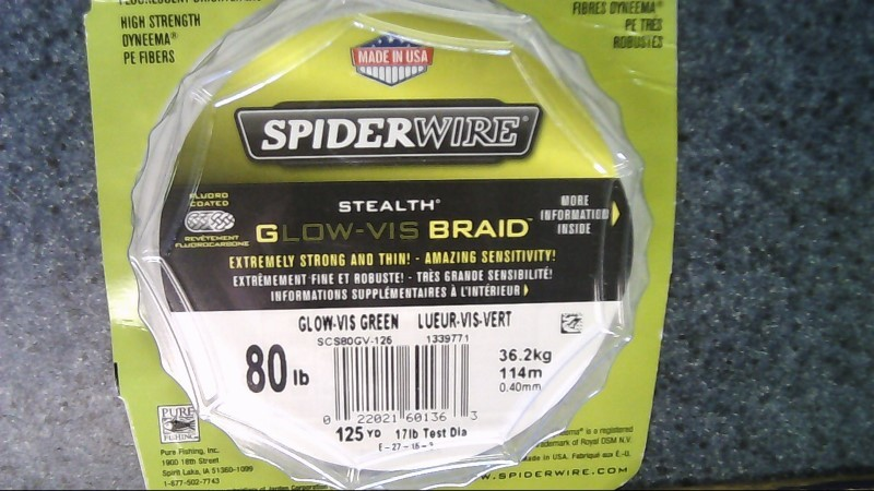 SPIDERWIRE STEALTH GLOW-VIS BRAID 80lb 125yd