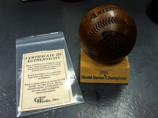 GRIDWORKS, INC. Sports Memorabilia 2001 WORLD SERIES WOODEN BASEBALL