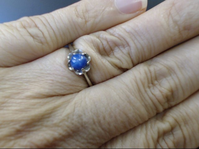 VINTAGE ROUND BLUE STAR SAPPHIRE RING SOLID REAL 10K WHITE GOLD SZ 6