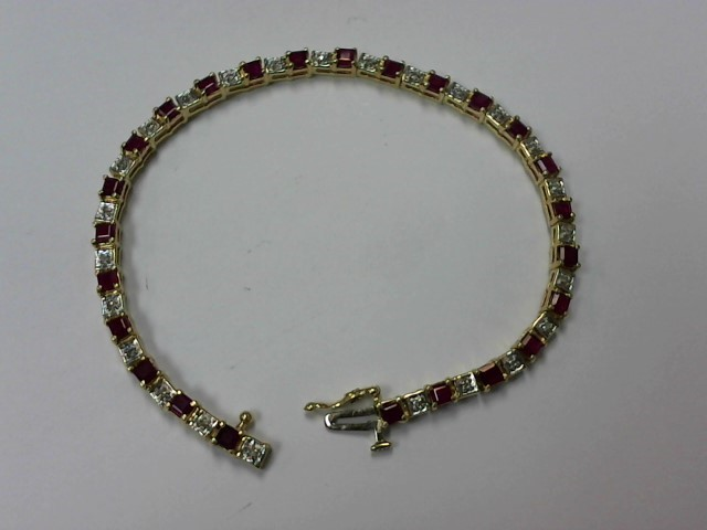 Synthetic Ruby Gold-Diamond & Stone Bracelet 25 Diamonds .125 Carat T.W.