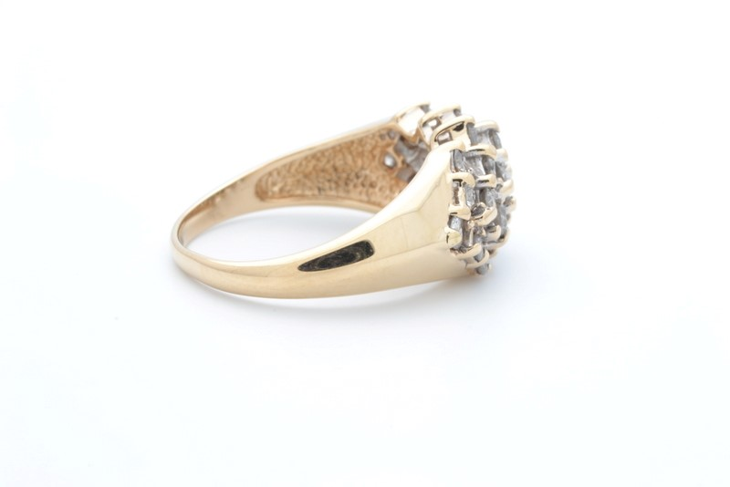 VINTAGE NATURAL DIAMOND CLUSTER RING BAND REAL SOLID 14K GOLD WIDE