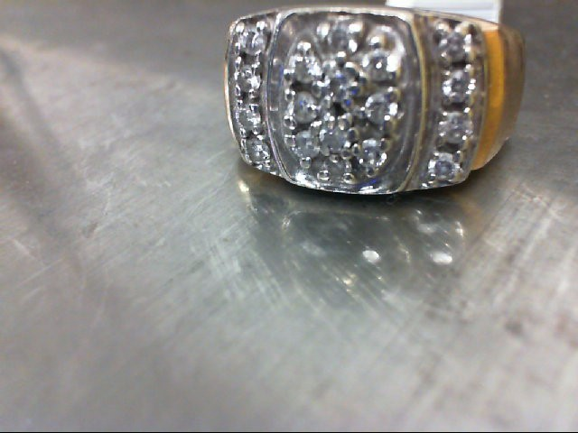 Gent's Diamond Cluster Ring 18 Diamonds .36 Carat T.W. 10K Yellow Gold 7.2g