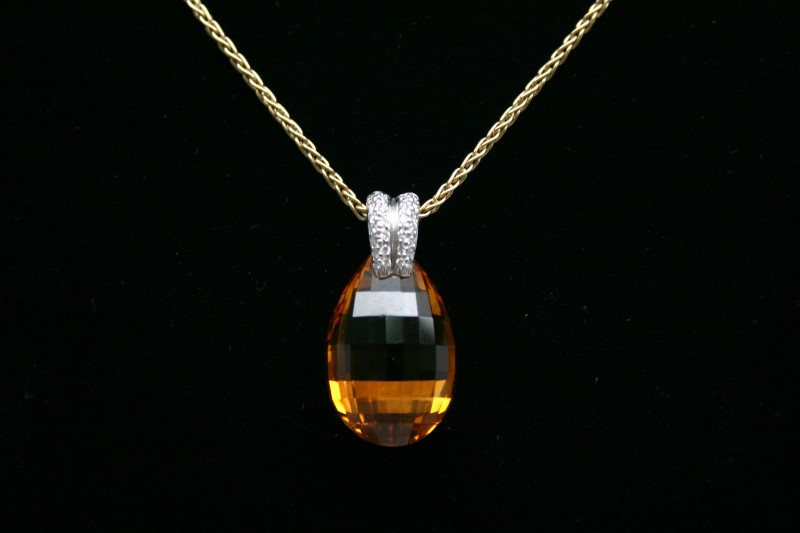 OVAL SHAPE CITRINE & DIAMOND 18K YELLOW GOLD W/ WHEAT STYLE CHAIN