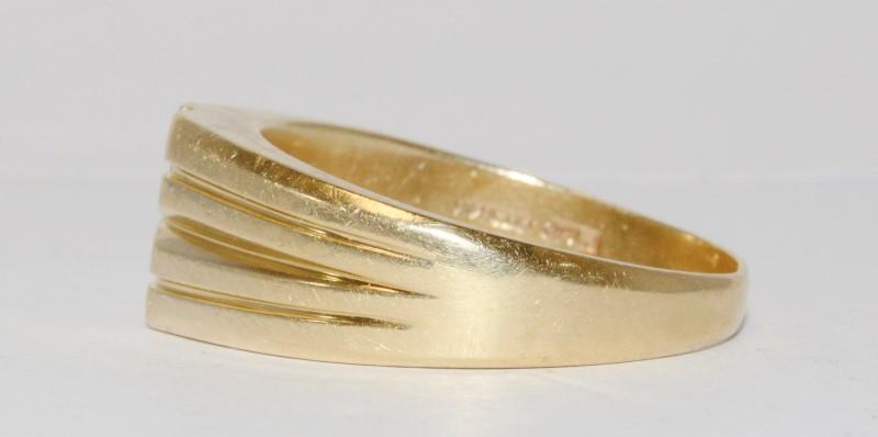 14K Men's Yellow Gold Flush Diamond Fashion Ring Size 12.5
