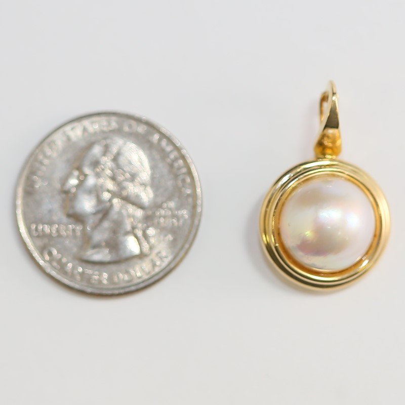 Pearl Charm Set in 14K Yellow Gold