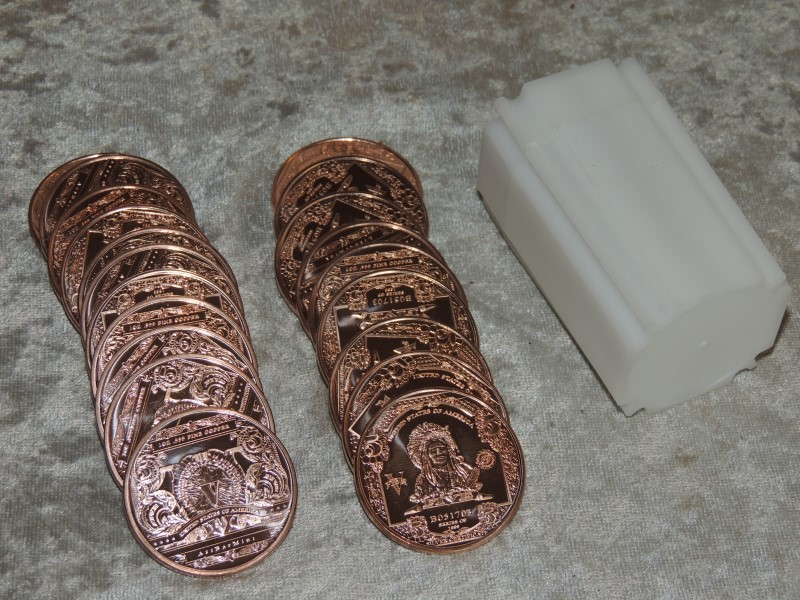 "20 x 1 oz .999 Copper Indian ""5 Dollars"" Coin by Art Bar Mint"
