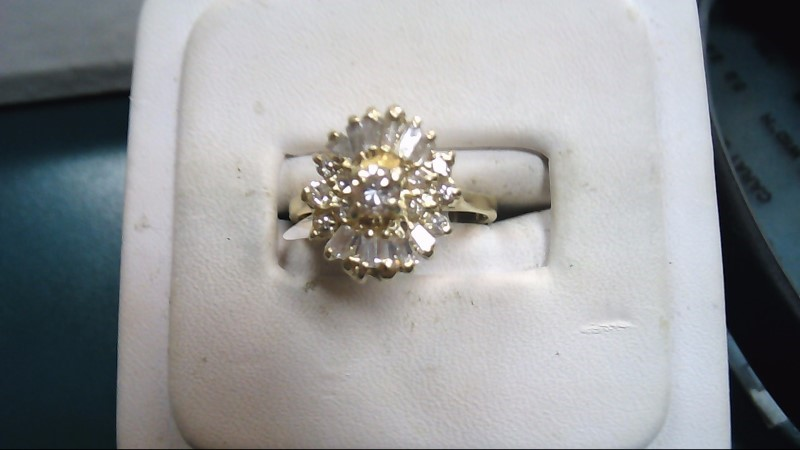 Lady's Diamond Cluster Ring 23 Diamonds 1.90 Carat T.W. 14K Yellow Gold 3.1g