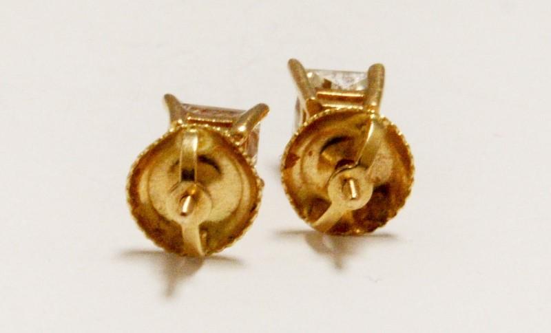 Gold-Diamond Earrings 2 Diamonds .90 Carat T.W. 14K Yellow Gold 1g