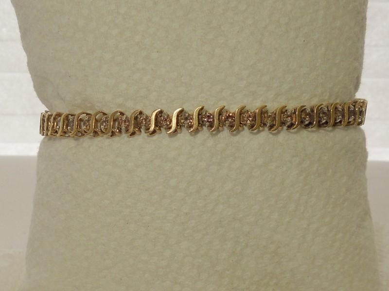 Gold-Diamond Bracelet 50 Diamonds 1.50 Carat T.W. 10K Yellow Gold 7.5g