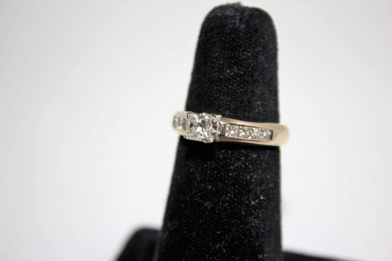 Lady's Diamond Engagement Ring 9 Diamonds 1.16 Carat T.W. 14K White Gold 4.8g